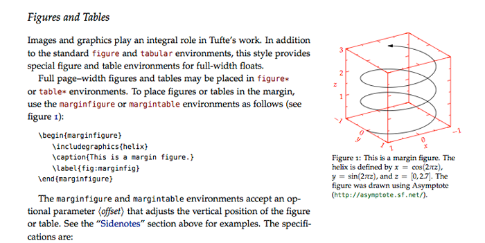The Tufte style provided by the \texttt{tufte-book} class provides wide side margins for comments and figures. Image from the tufte-book documentation.